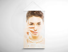 Load image into Gallery viewer, Salon Banner - Woman in Short Hair with White Pearl Necklace