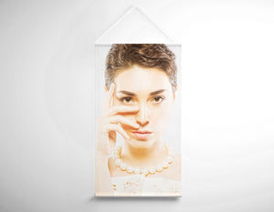Salon Banner - Woman in Short Hair with White Pearl Necklace