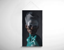 Load image into Gallery viewer, Salon Banner - Woman in White and Turquoise Body Paint