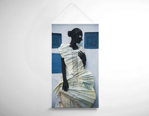 Salon Banner - Woman with Black Body Paint in Paper Dress