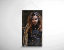 Load image into Gallery viewer, Salon Banner - Brunette Long haired Man with Shaved sides in Steampunk Theme
