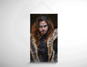 Salon Banner - Brunette Long haired Man with Shaved sides in Steampunk Theme