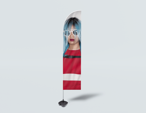 Salon Beach Flag - Woman Front with Blue Bob Hairstyle in Red Dress