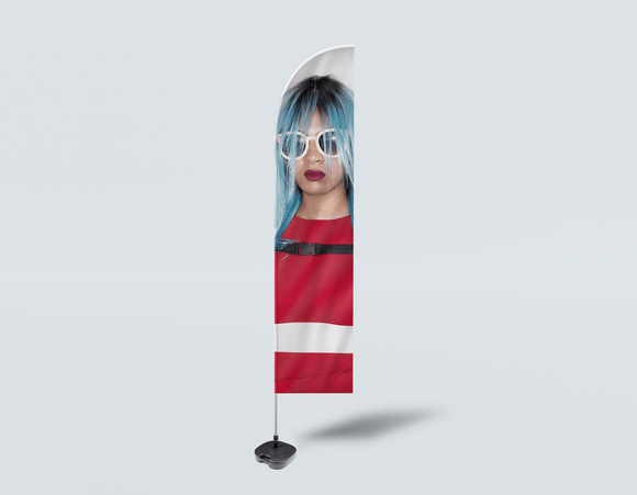 Salon Beach Flag - Woman Front with Blue Bob Hairstyle in Red Dress - Bound for Style