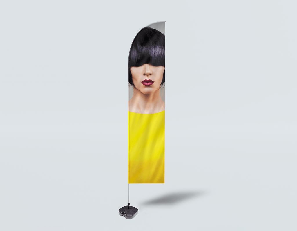 Salon Beach Flag - Woman Front with Bob Hairstyle with Purple Highlights - Bound for Style