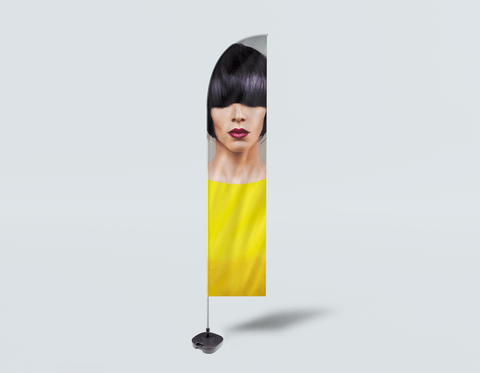 Salon Beach Flag - Woman Front with Bob Hairstyle with Purple Highlights