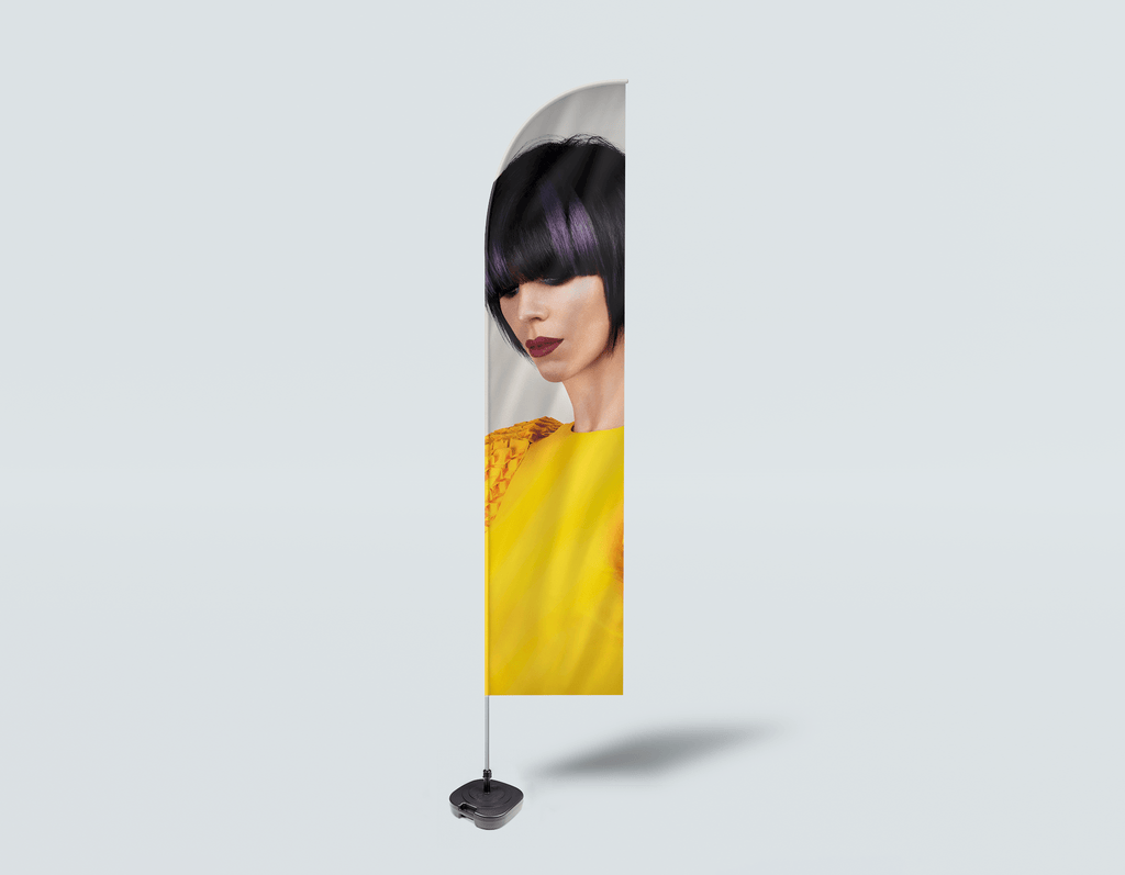 Salon Beach Flag - Woman with Bob Hairstyle with Purple Highlights - Bound for Style