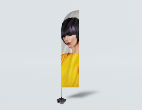 Salon Beach Flag - Woman with Bob Hairstyle with Purple Highlights