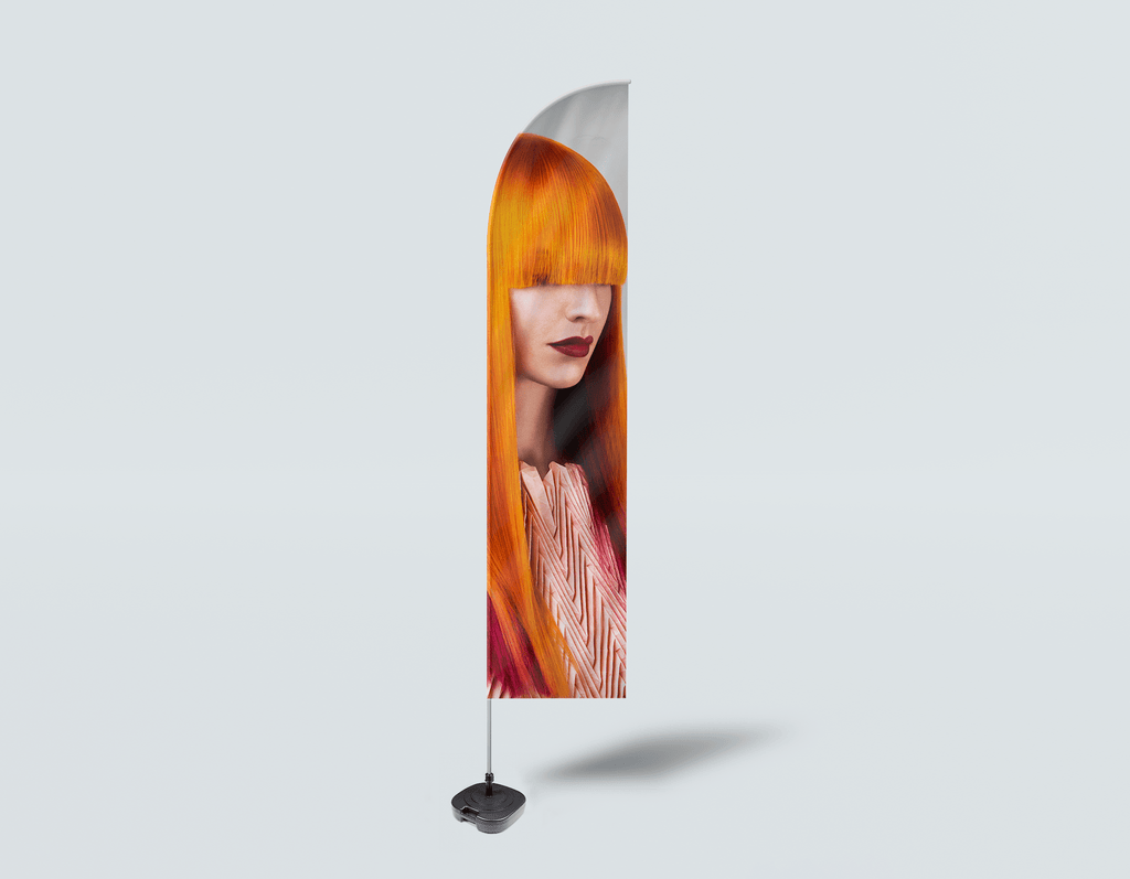Salon Beach Flag - Woman Front 2 with Long Orange Colored Hair - Bound for Style