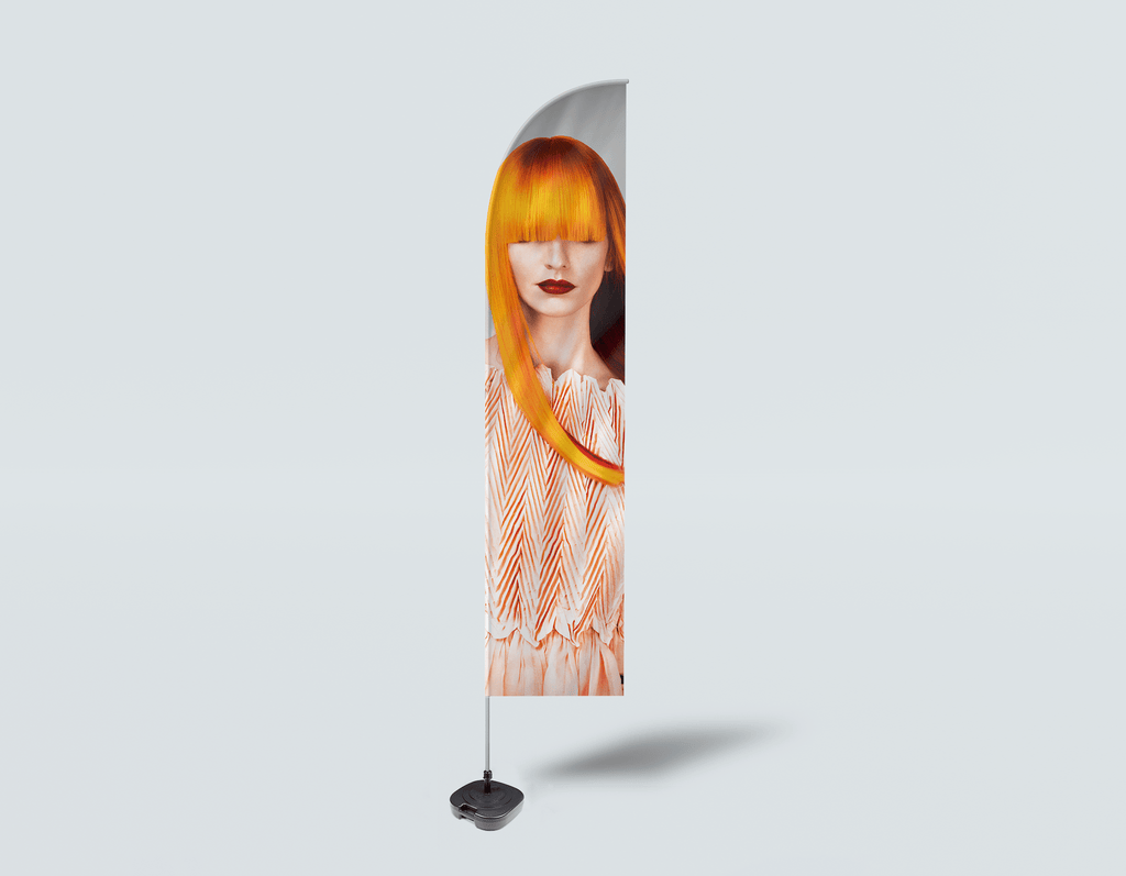 Salon Beach Flag - Woman Front with Long Orange Colored Hair - Bound for Style
