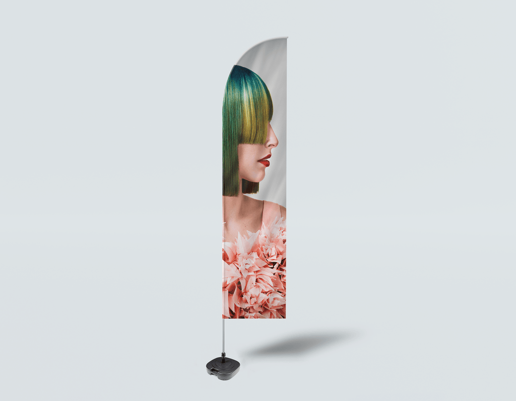 Salon Beach Flag - Woman with Green Hair in Peach Floral Textured Dress - Bound for Style