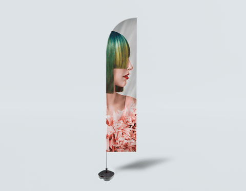 Salon Beach Flag - Woman with Green Hair in Peach Floral Textured Dress