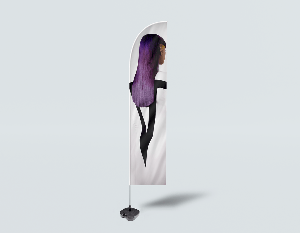 Salon Beach Flag - Woman with Long Purple Color Hair - Bound for Style