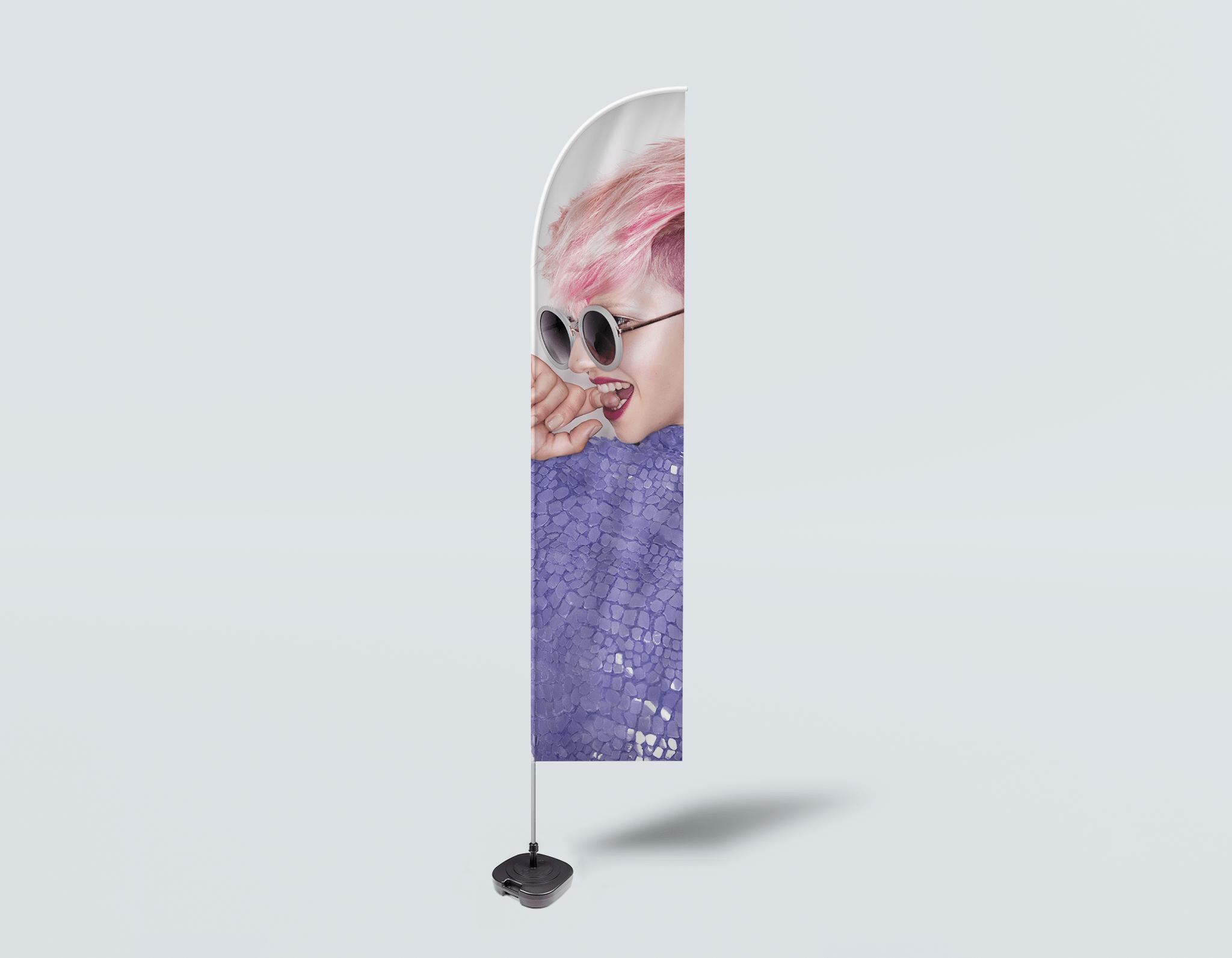 Salon Beach Flag - Woman Side in Pink Hair Colored Pixie Cut
