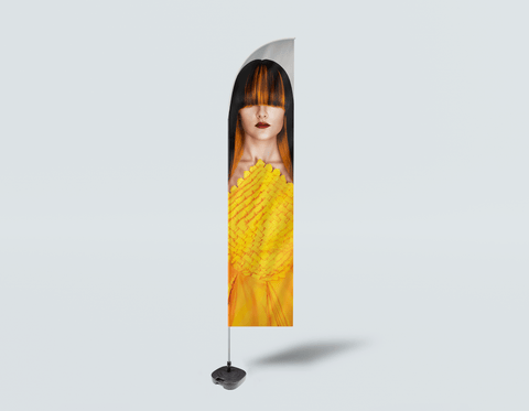 Salon Beach Flag - Woman Front with Long Straight Hair with Orange Highlights