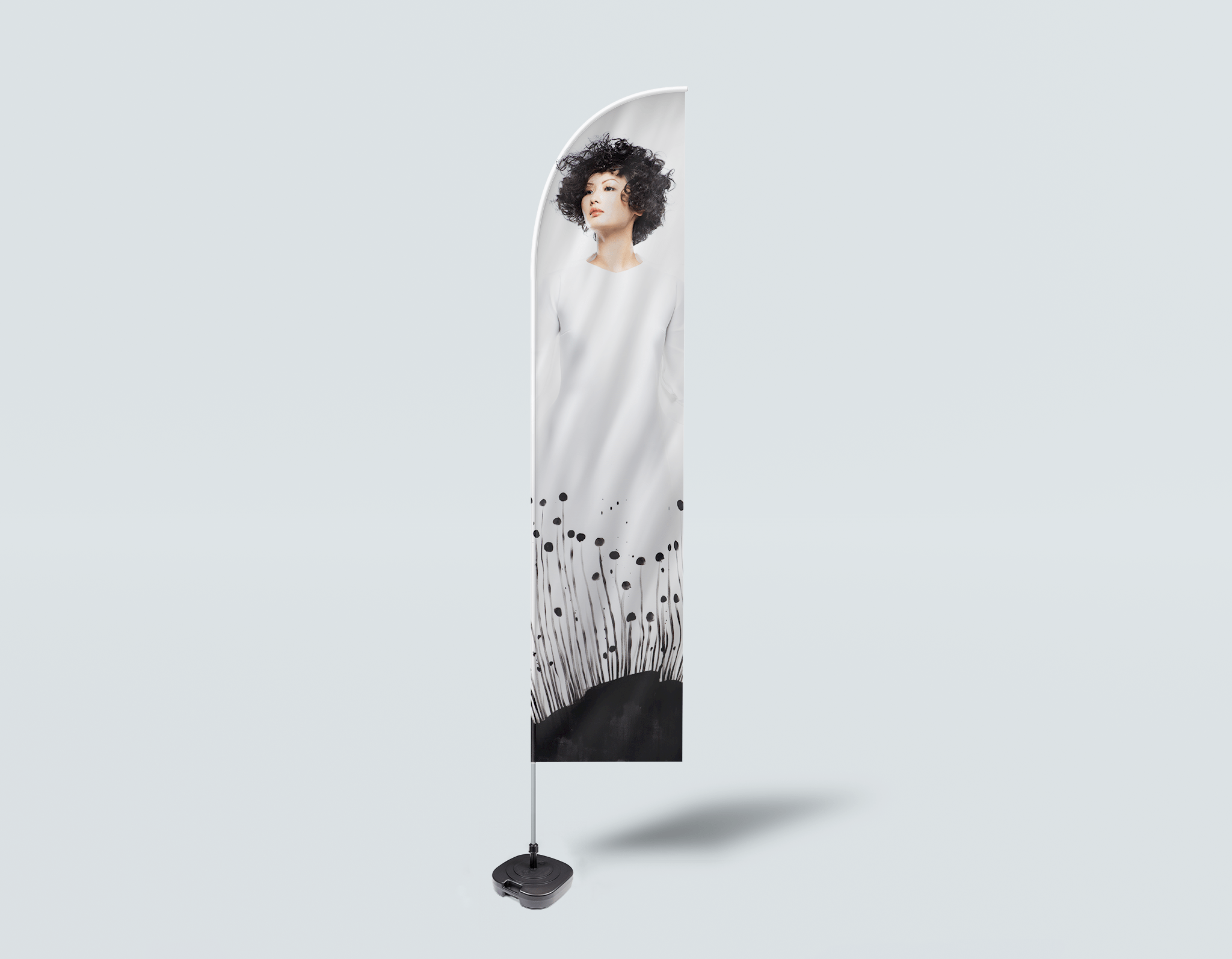 Salon Beach Flag -  Woman with Messy Curls Short Hairstyle in Grass Graphic Gown