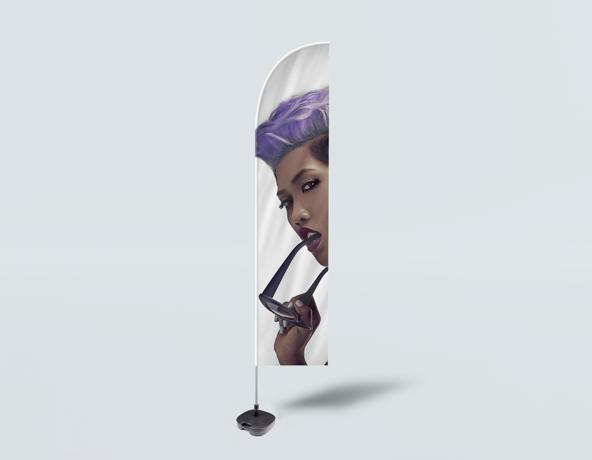 Salon Beach Flag - Woman with Short Hairstyle in Purple Shade Hair Color
