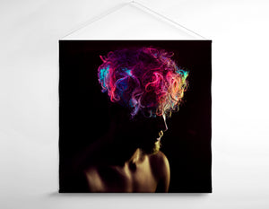 Salon Banner - Man in Silhoutte with Neon Colored Unicorn Hair