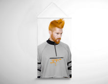 Load image into Gallery viewer, Salon Banner - Man with High Fade Quiff and Fringe Haircut with Orange Hair color