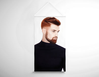 Salon Banner - Man with High Fade Quiff Haircut in Black Outfit