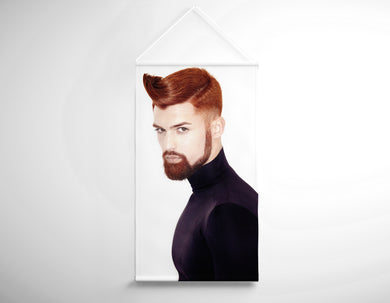 Textile Salon Banner - Man with High Fade Quiff Haircut in Black Outfit - Bound for Style