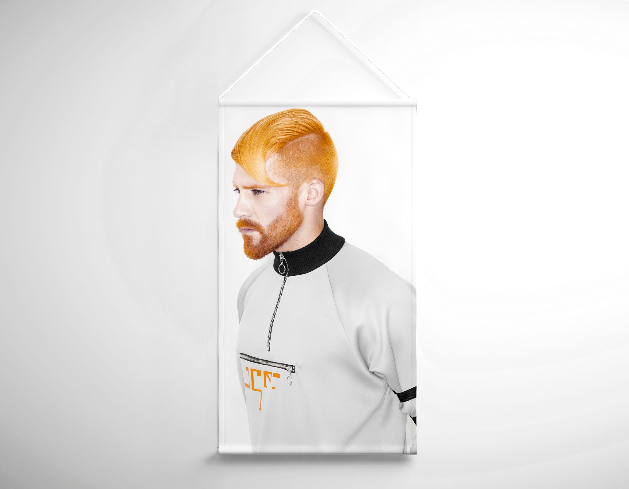 Textile Salon Banner - Man with High Fade Quiff and Fringe Haircut with Orange Hair color