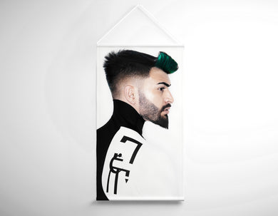 Textile Salon Banner - Man with High Fade Quiff Haircut in Black and White Outfit - Bound for Style