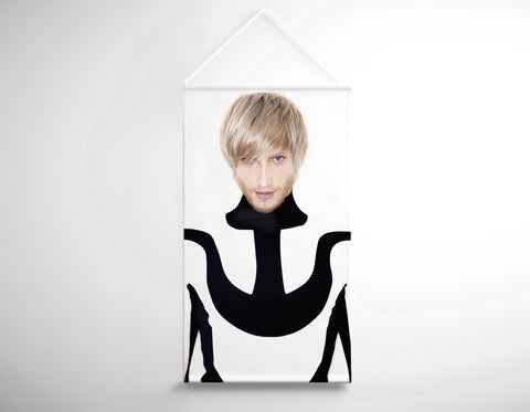 Textile Salon Banner - Man in Bob Haircut with Ash Blonde Hair Color