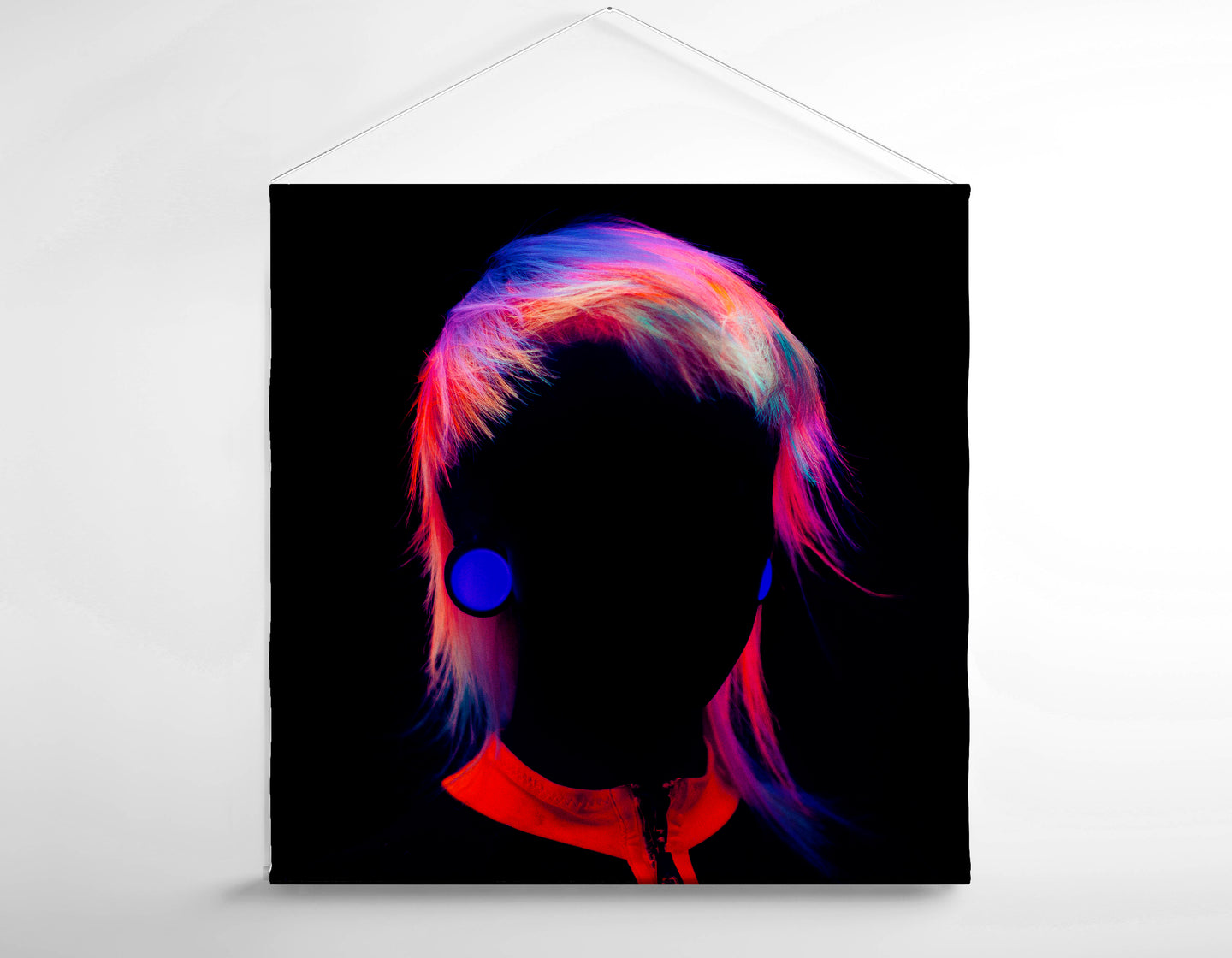 Salon Banner - Bob with Neon Colored Hairstyle in Silhouette