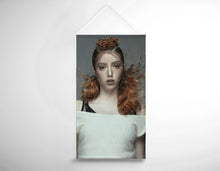 Load image into Gallery viewer, Salon Banner - Woman in Copper Red Hair color Curly Hairstyle