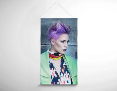 Salon Banner - Woman in Purple Pixie Cut