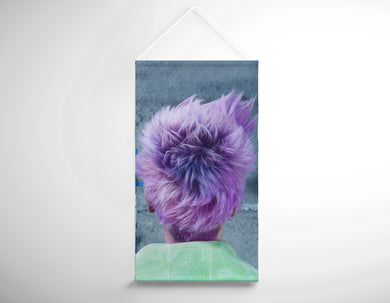 Textile Salon Banner - Woman in Purple Pixie Cut - Bound for Style