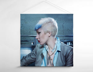 Salon Banner - Woman with Pixie Cut and Blue Highlights