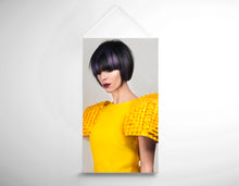 Load image into Gallery viewer, Textile Salon Banner - Woman with Bob Hairstyle with Purple Highlights