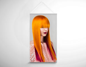 Textile Salon Banner - Woman with Long Orange Colored Hair - Bound for Style