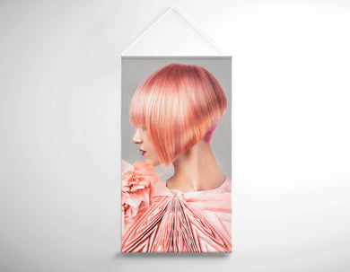 Textile Salon Banner - Woman with Pink Colored Bob Hairstyle - Bound for Style