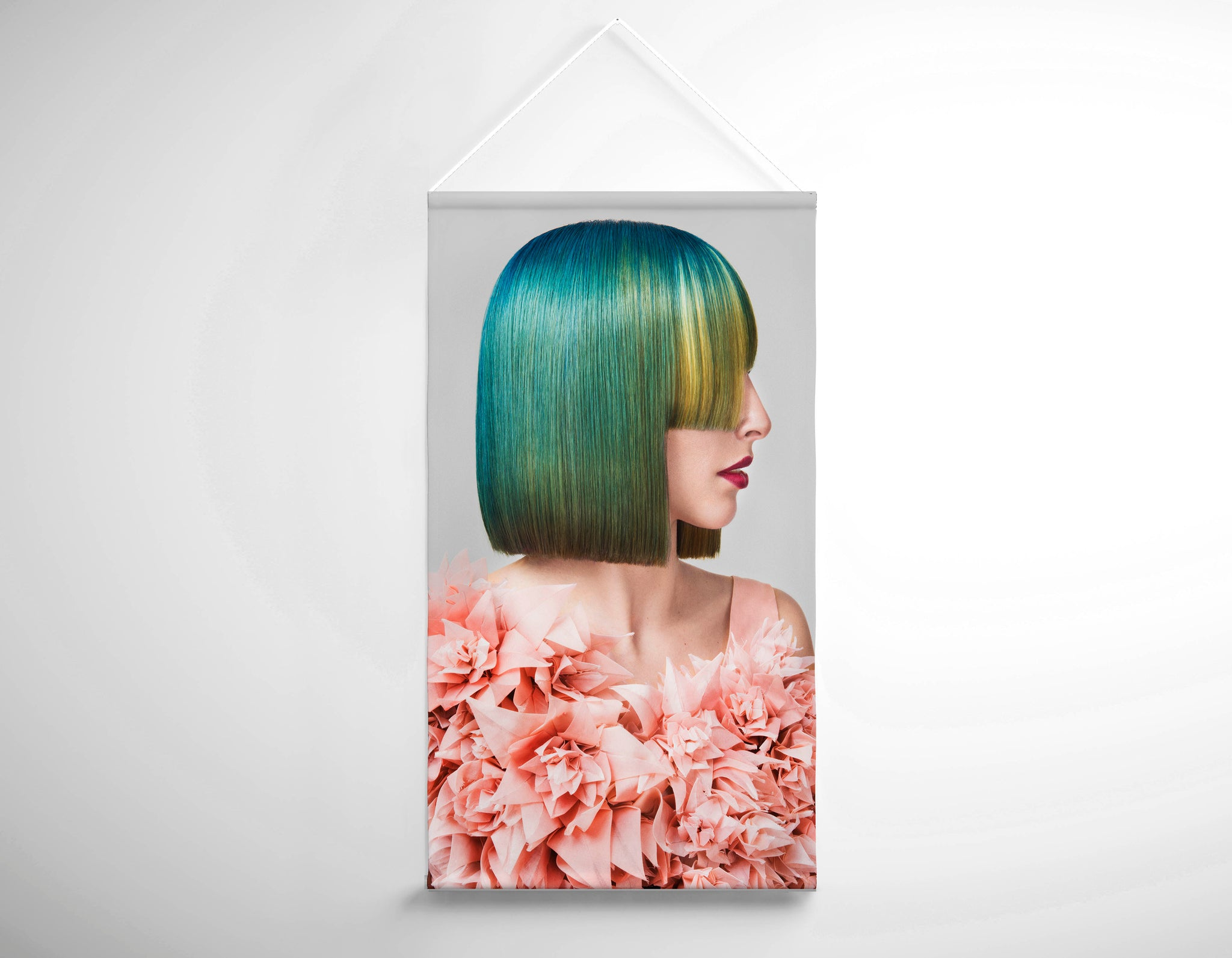 Textile Salon Banner - Woman with Green Hair in Peach Floral Textured Dress