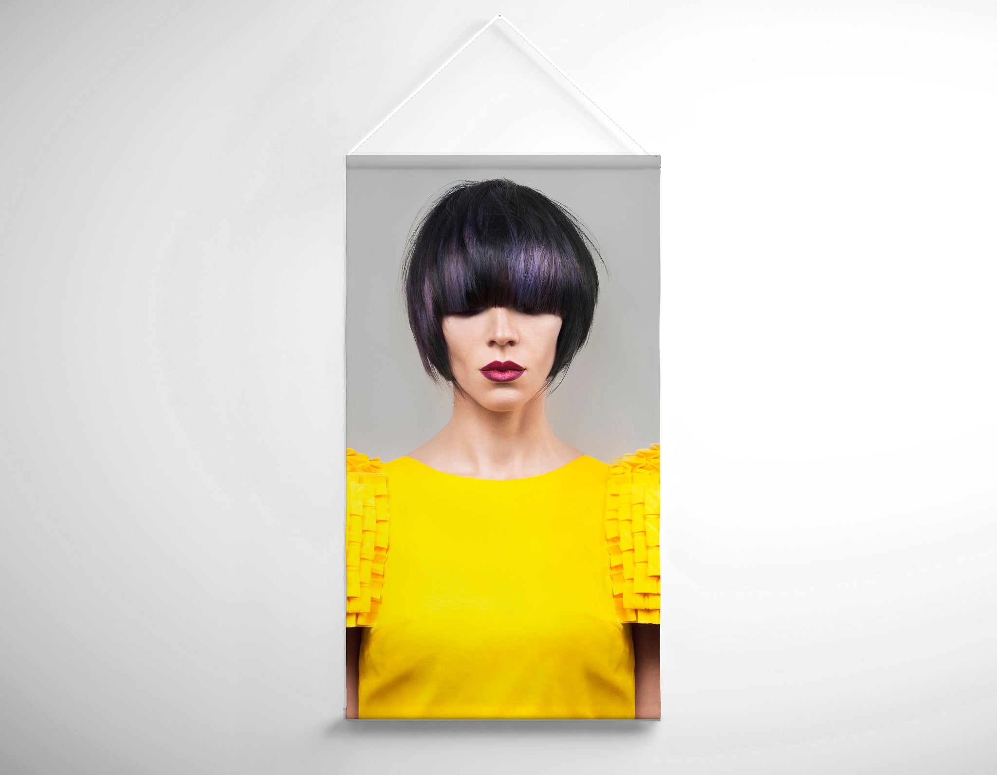 Textile Salon Banner - Woman with Bob Hairstyle with Purple Highlights