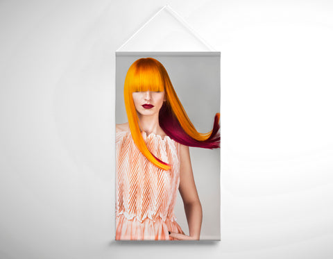 Textile Salon Banner - Woman with Long Orange Colored Hair