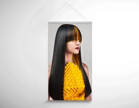 Textile Salon Banner - Woman with Long Straight Hair with Orange Highlights