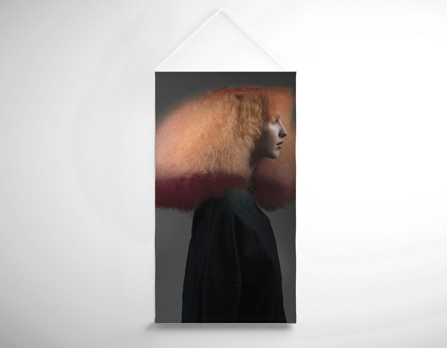 Salon Banner - Woman with Pink Hair Color in Big Hair Perm