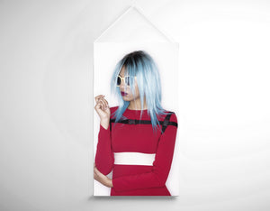 Textile Banners - Woman with Blue Bob Hairstyle in Red Dress