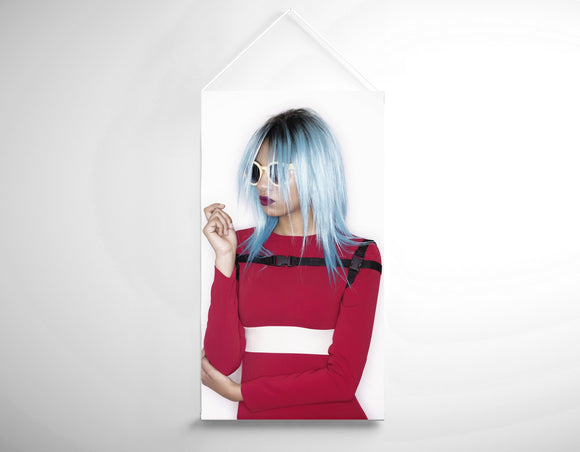 Textile Salon Banner - Woman with Blue Bob Hairstyle in Red Dress - Bound for Style