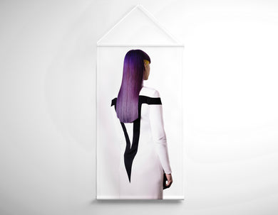 Textile Salon Banner - Woman with Long Purple Color Hair - Bound for Style
