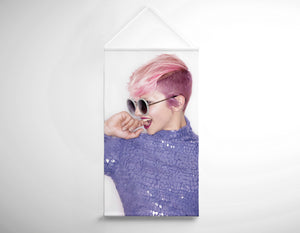 Textile Salon Banner - Woman in Pink Hair Colored Pixie Cut - Bound for Style