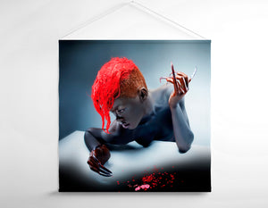 Salon Banner - Woman in Body Paint with Red Hair Color