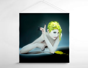 Salon Banner - Woman in White Body Paint with Yellow Hair Color