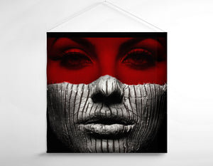 Salon Banner - Woman in Red and Gray Clay Makeup