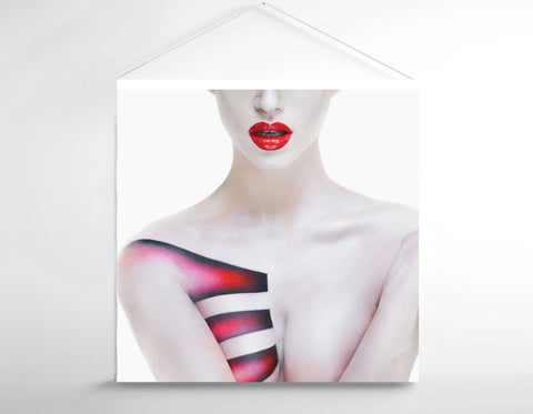 Textile Salon Banner - Woman's Torso with Geometric Body Paint