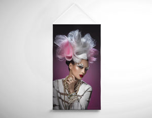 Salon Banner - Woman with Pink and White Headpiece in White Dress